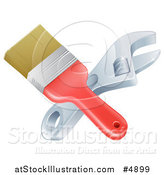 Vector Illustration of a Crossed Paintbrosh and Adjustable Wrench by AtStockIllustration