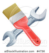 Vector Illustration of a Crossed Paintbrosh and Wrench by AtStockIllustration
