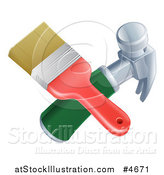Vector Illustration of a Crossed Paintbrush and Hammer by AtStockIllustration
