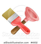Vector Illustration of a Crossed Paintbrush and Plunger by AtStockIllustration