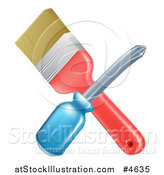 Vector Illustration of a Crossed Paintbrush and Screwdriver by AtStockIllustration