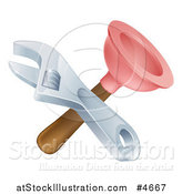 Vector Illustration of a Crossed Plunger and Adjustable Wrench by AtStockIllustration