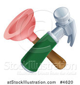 Vector Illustration of a Crossed Plunger and Hammer by AtStockIllustration