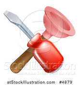 Vector Illustration of a Crossed Plunger and Red Handled Screwdriver by AtStockIllustration