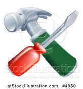 Vector Illustration of a Crossed Screwdriver and Hammer by AtStockIllustration
