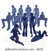 Vector Illustration of a Crowd of Blue Silhouetted People by AtStockIllustration