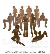 Vector Illustration of a Crowd of Brown Silhouetted People by AtStockIllustration