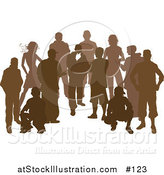 Vector Illustration of a Crowd of Brown Silhouetted People Standing and Crouching by AtStockIllustration