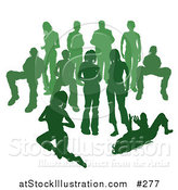 Vector Illustration of a Crowd of Green Silhouetted People by AtStockIllustration