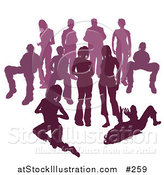 Vector Illustration of a Crowd of Purple Silhouetted People by AtStockIllustration