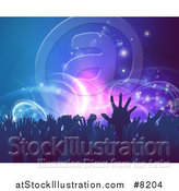 Vector Illustration of a Crowd of Silhouetted Concert Goer Hands over Neon Lights on Blue by AtStockIllustration