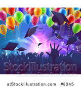Vector Illustration of a Crowd of Silhouetted Graudate Hands Throwing up Their Mortar Board Caps Under Party Balloons by AtStockIllustration