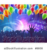 Vector Illustration of a Crowd of Silhouetted People Hands over Neon Lights on Blue, with Party Balloons by AtStockIllustration