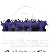 Vector Illustration of a Crowd of Silhouetted Purple Female Dancers by AtStockIllustration