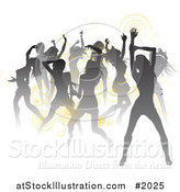Vector Illustration of a Crowd of Silhouetted Sexy Women Dancing, with Yellow Spirals by AtStockIllustration
