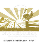 Vector Illustration of a Crowing Rooster on a Fence Post Against a Sunrise over a Farm House by AtStockIllustration