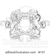Vector Illustration of a Crown, Lion, and Unicorn on a Coat of Arms - Black and White Version by AtStockIllustration