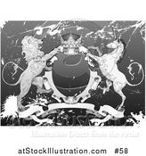 Vector Illustration of a Crown, Lion, and Unicorn on a Coat of Arms in Grunge by AtStockIllustration