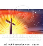 Vector Illustration of a Crucifix Against a Shining Colorful Sky by AtStockIllustration