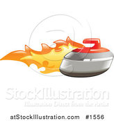 Vector Illustration of a Curling Stone on Fire by AtStockIllustration
