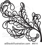 Vector Illustration of a Curly Branch of Leaves and Stems by AtStockIllustration