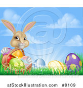 Vector Illustration of a Cute Beige Bunny Rabbit with a Basket and Easter Eggs in Grass Against a Blue Sky with Puffy Clouds and Sun Rays by AtStockIllustration