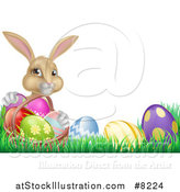 Vector Illustration of a Cute Beige Bunny Rabbit with a Basket and Easter Eggs in Grass, with Text Space by AtStockIllustration