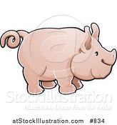 Vector Illustration of a Cute Big Pink Pig with a Curly Tail in Profile by AtStockIllustration