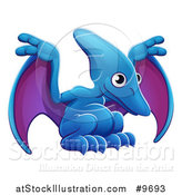 Vector Illustration of a Cute Blue and Purple Pterodactyl Dinosaur by AtStockIllustration