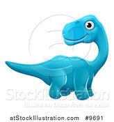 Vector Illustration of a Cute Blue Apatosaurus Dinosaur by AtStockIllustration