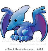 Vector Illustration of a Cute Blue Pterodactyl or Pteranodon Dinosaur with Purple Under Its Wings by AtStockIllustration