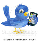 Vector Illustration of a Cute Bluebird Holding a Cellphone with Apps on the Screen by AtStockIllustration