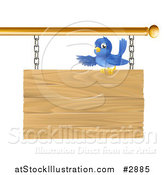 Vector Illustration of a Cute Bluebird Perched on and Presenting a Hanging Wooden Sign by AtStockIllustration