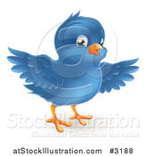 Vector Illustration of a Cute Bluebird with Open Wings by AtStockIllustration