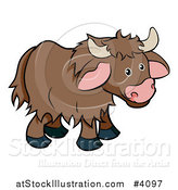 Vector Illustration of a Cute Browk Yak by AtStockIllustration