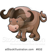 Vector Illustration of a Cute Brown African Buffalo by AtStockIllustration