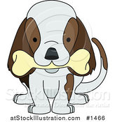 Vector Illustration of a Cute Brown and White Puppy Dog Wagging Its Tail and Chewing on a Bone by AtStockIllustration