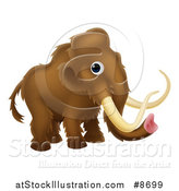 Vector Illustration of a Cute Brown Baby Woolly Mammoth by AtStockIllustration