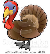 Vector Illustration of a Cute Brown Turkey Bird with a Purple Face and Red Wattle and Snood by AtStockIllustration