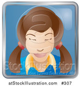 Vector Illustration of a Cute Brunette Woman with Her Hair in Pig Tails by AtStockIllustration