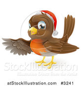 Vector Illustration of a Cute Christmas Robin Pointing with a Wing by AtStockIllustration