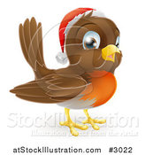 Vector Illustration of a Cute Christmas Robin Wearing a Santa Hat by AtStockIllustration
