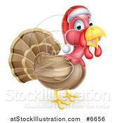 Vector Illustration of a Cute Christmas Turkey Bird Facing Right and Wearing a Santa Hat by AtStockIllustration