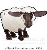 Vector Illustration of a Cute Female Sheep, an Ewe, with White Fleece, a Black Face and Legs by AtStockIllustration