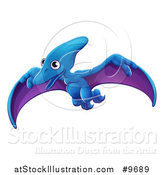 Vector Illustration of a Cute Flying Pterodactyl Dinosaur by AtStockIllustration