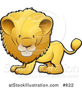 Vector Illustration of a Cute Golden Male Lion with a Big Mane by AtStockIllustration