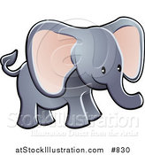 Vector Illustration of a Cute Gray Elephant with Big Pink Ears and a Short Trunk by AtStockIllustration