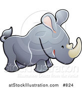 Vector Illustration of a Cute Gray Rhino with Pink Ears and White Horns by AtStockIllustration
