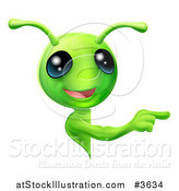 Vector Illustration of a Cute Green Alien Looking Around a Sign and Pointing by AtStockIllustration