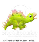 Vector Illustration of a Cute Green Stegosaurus Dinosaur by AtStockIllustration